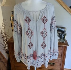 SUNDANCE Embroidered Beaded Peasant Shirt NWOT